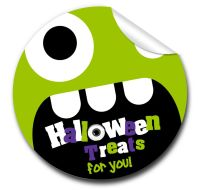 Monster face Personalised Halloween Stickers A4 sheet x1