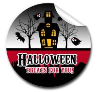 Haunted house Personalised Halloween Stickers A4 sheet x1