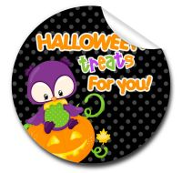 Owl Personalised Halloween Stickers A4 sheet x1