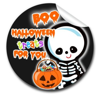 Skeleton Personalised Halloween Stickers A4 sheet x1