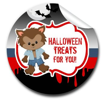 Werewolf Personalised Halloween Stickers A4 sheet x1
