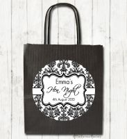 Elegant Damask Personalised Hen Night Party Bags x1