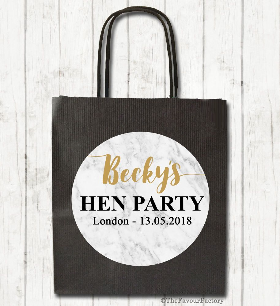 Marble Personalised Hen Night Party Bags x1
