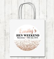 Rose Gold Faux Glitter Confetti Personalised Hen Night Party Bags x1