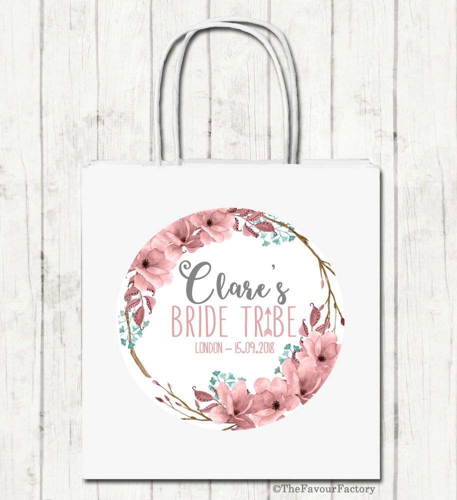 Bride Tribe Boho Florals Personalised Hen Night Party Bags x1