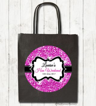 Hot Pink Glitter Personalised Hen Night Party Bags x1