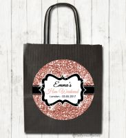 Rose Gold Faux Glitter Personalised Hen Night Party Bags x1