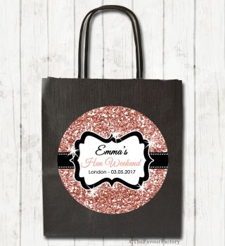 Rose Gold Glitter Personalised Hen Night Party Bags x1