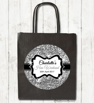 Silver Glitter Personalised Hen Night Party Bags x1