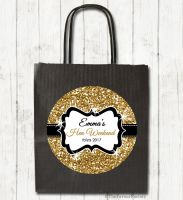 Gold Glitter Personalised Hen Night Party Bags x1
