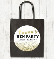 Faux Gold Glitter Confetti Personalised Hen Night Party Bags x1