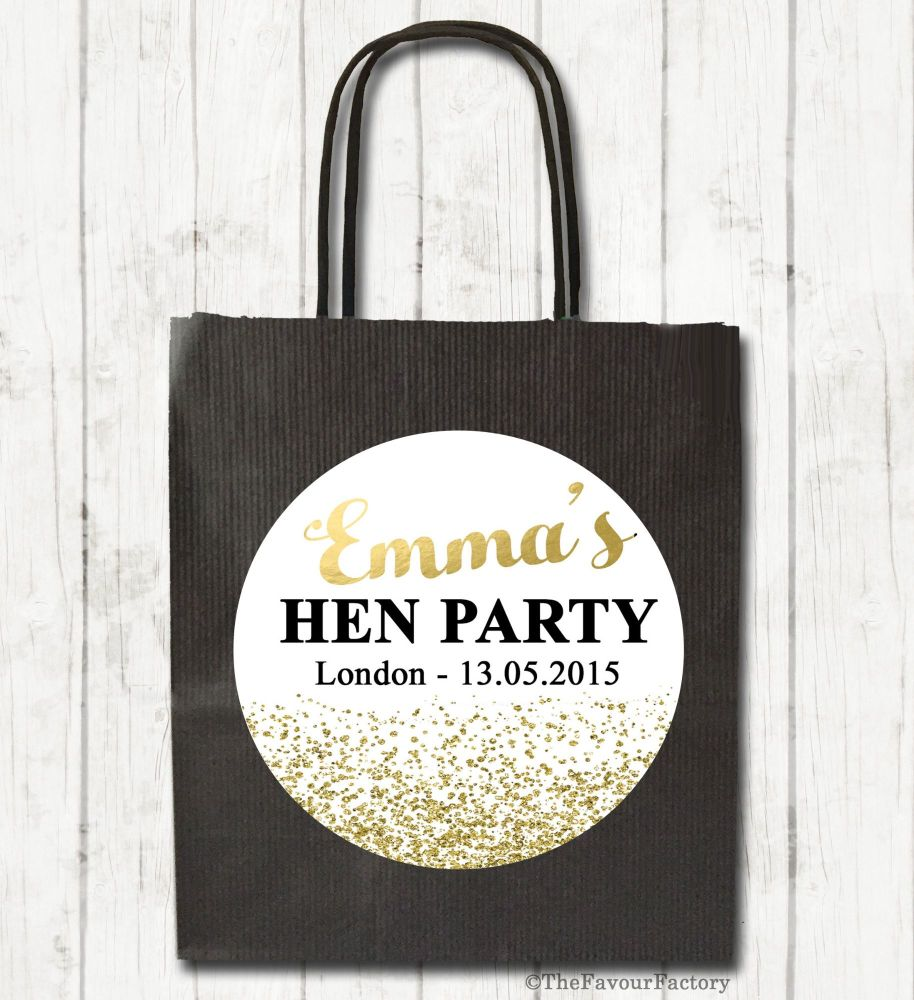 Gold Glitter Confetti Personalised Hen Night Party Bags x1