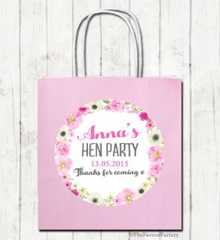 Anna Floral Wreath Personalised Hen Night Party Bags x1