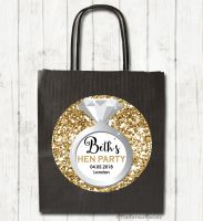 Faux Gold Glitter Engagement Ring Personalised Hen Night Party Bags x1