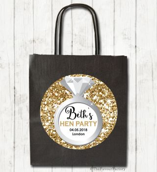 Gold Glitter Engagement Ring Personalised Hen Night Party Bags x1