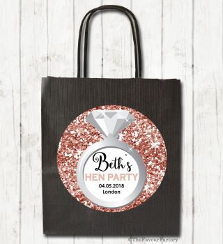 Rose Gold Faux Glitter Engagement Ring Personalised Hen Night Party Bags x1