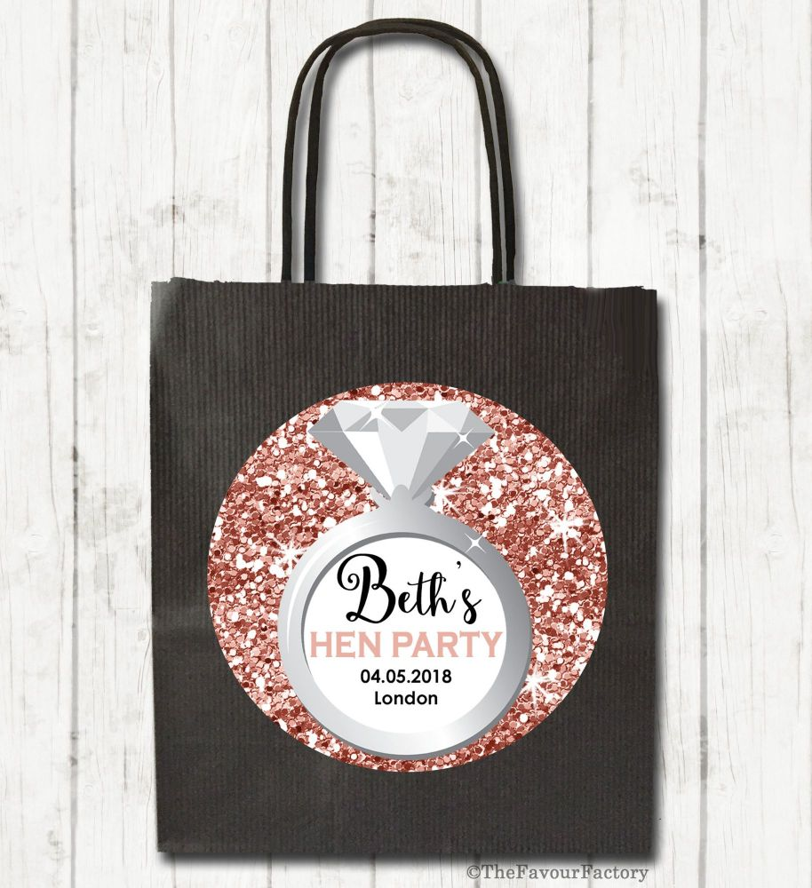 Rose Gold Glitter Engagement Ring Personalised Hen Night Party Bags x1