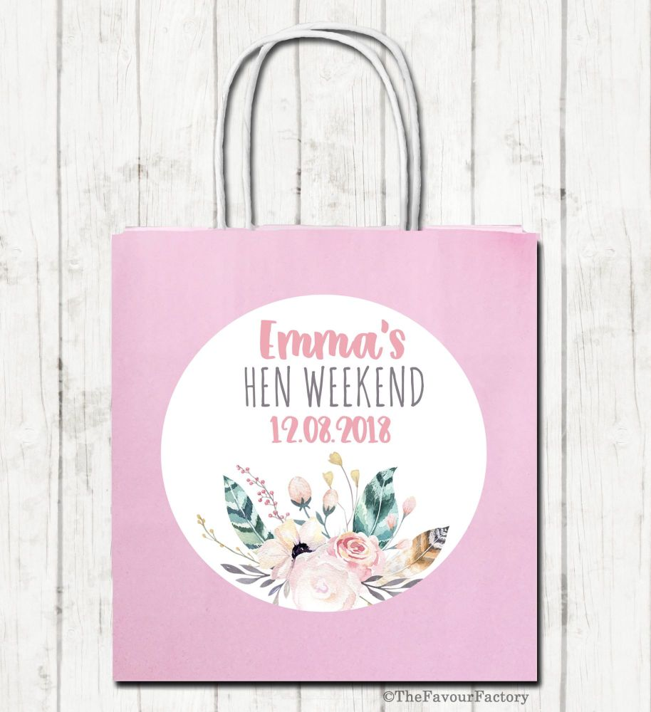 Boho Floral Feathers Personalised Hen Night Party Bags x1
