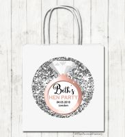 Silver Glitter Engagement Ring Personalised Hen Night Party Bags x1