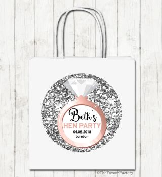 Faux Silver Glitter Engagement Ring Personalised Hen Night Party Bags x1