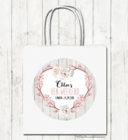 Boho Floral Heart Wreath Personalised Hen Night Party Bags x1