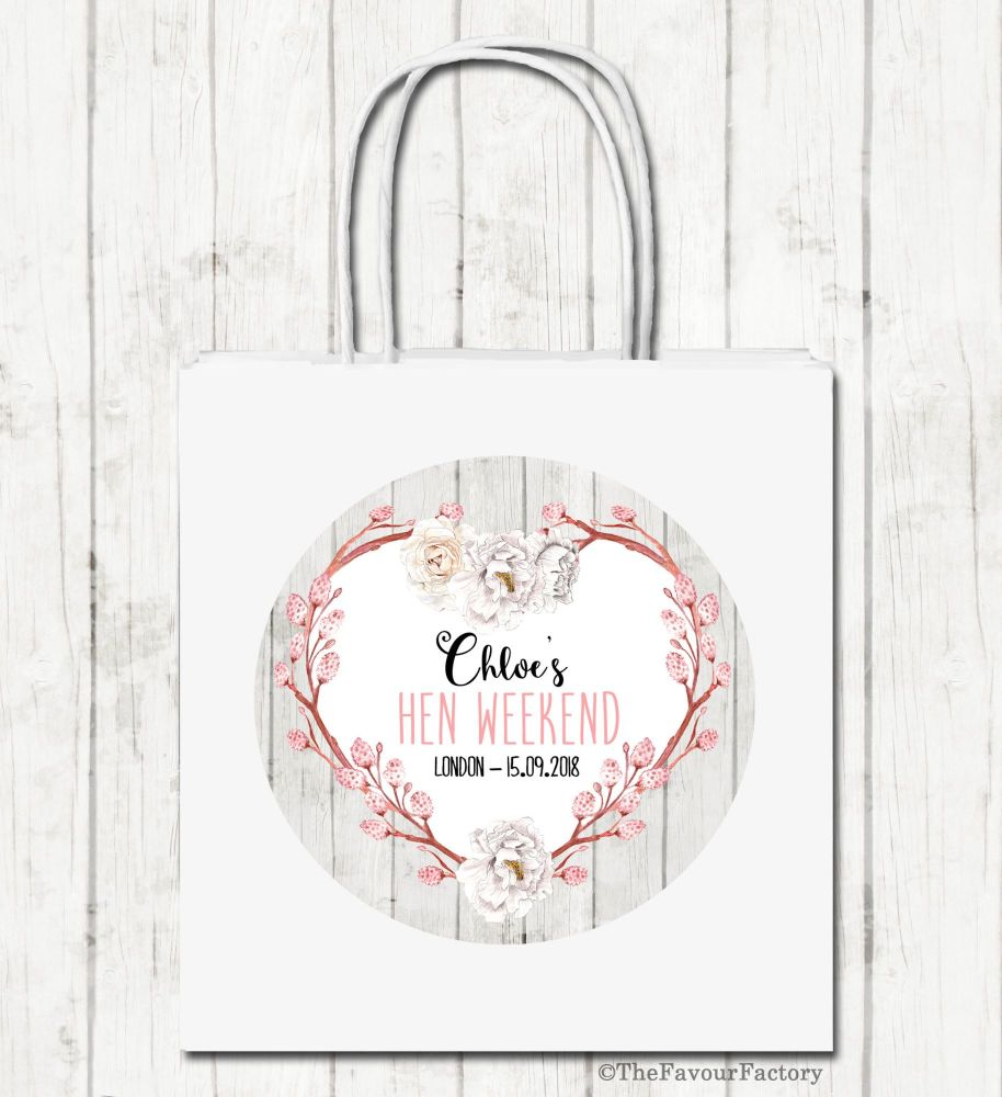 Rustic Floral Heart Wreath Personalised Hen Night Party Bags x1