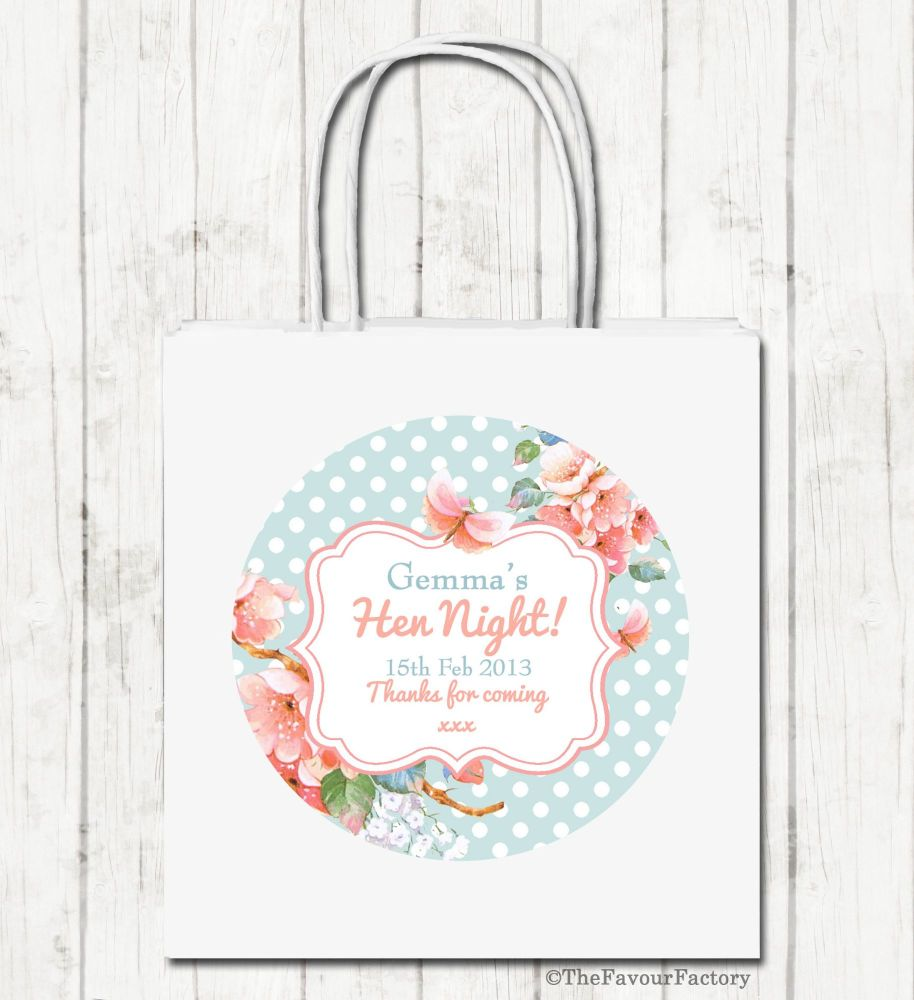 Vintage Polka Dot Florals Personalised Hen Night Party Bags x1