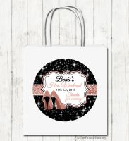 Rose Gold Faux Glitter Stilettos Personalised Hen Night Party Bags x1