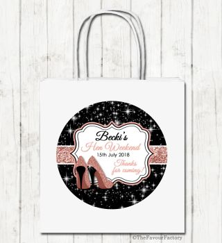 Rose Gold Glitter Stilettos Personalised Hen Night Party Bags x1
