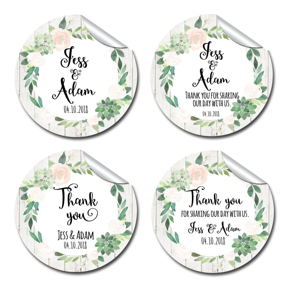 Floral Succulents Thank you Personalised Wedding Favours Stickers