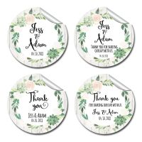 Floral Succulents Thank you Personalised Wedding Favours Circle Stickers