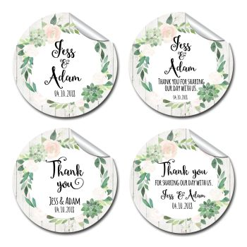 Wedding Favour Stickers Personalised Floral Succulents
