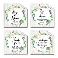 Floral Succulents Thank you Personalised Wedding Favours Square Stickers