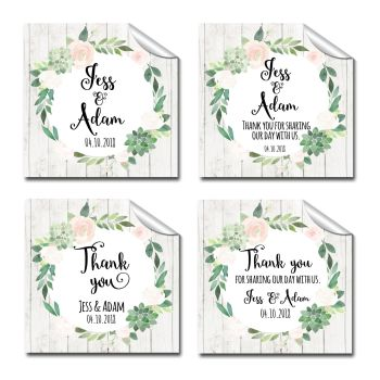 Wedding Favour Stickers Personalised Floral Succulents Square