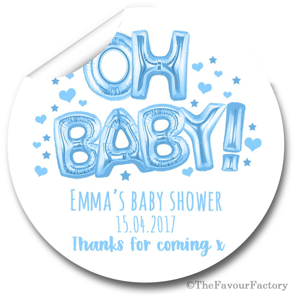 Oh Baby Blue Balloons Personalised Baby Shower Party Favours Stickers 1x A4