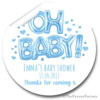 'Oh Baby' Blue Balloons Personalised Baby Shower Party Favours Stickers 1x A4 sheet