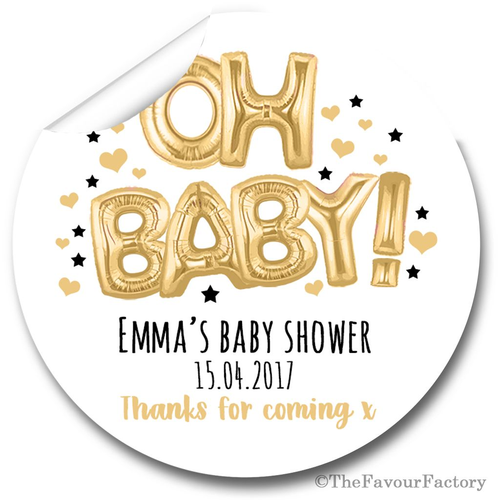 Oh Baby Gold & Black Balloons Personalised Baby Shower Party Favours Sticke