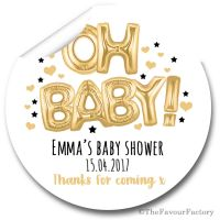 'Oh Baby' Gold & Black Balloons Personalised Baby Shower Party Favours Stickers 1x A4 sheet