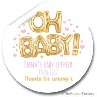 Baby Shower Stickers Personalised 'Oh Baby' Pink & Gold Balloons
