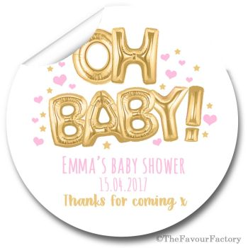 'Oh Baby' Pink & Gold Balloons Personalised Baby Shower Party Favours Stickers 1x A4 sheet