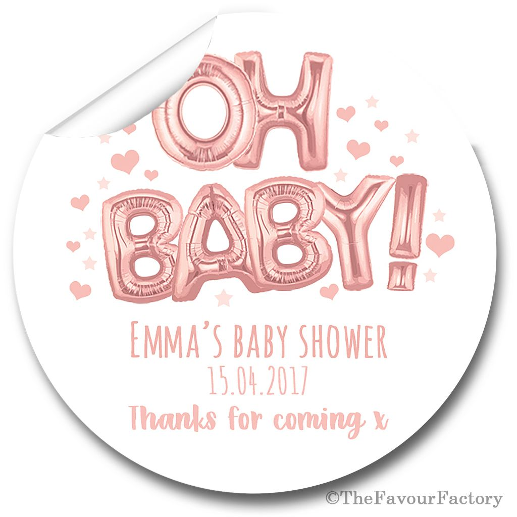 'Oh Baby' Rose Gold Balloons Personalised Baby Shower Party Favours Sticker