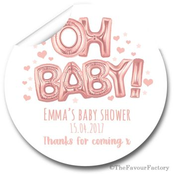 'Oh Baby' Rose Gold Balloons Personalised Baby Shower Party Favours Stickers 1x A4 sheet