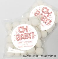 'Oh Baby' Foil Balloons Rose Gold Baby Shower table favours Sweet Bags kits x12