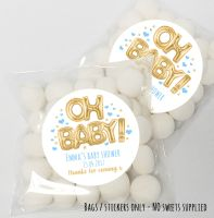 'Oh Baby' Foil Balloons Blue Gold Baby Shower table favours Sweet Bags kits x12