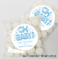 'Oh Baby' Foil Balloons Blue Baby Shower table favours Sweet Bags kits x12