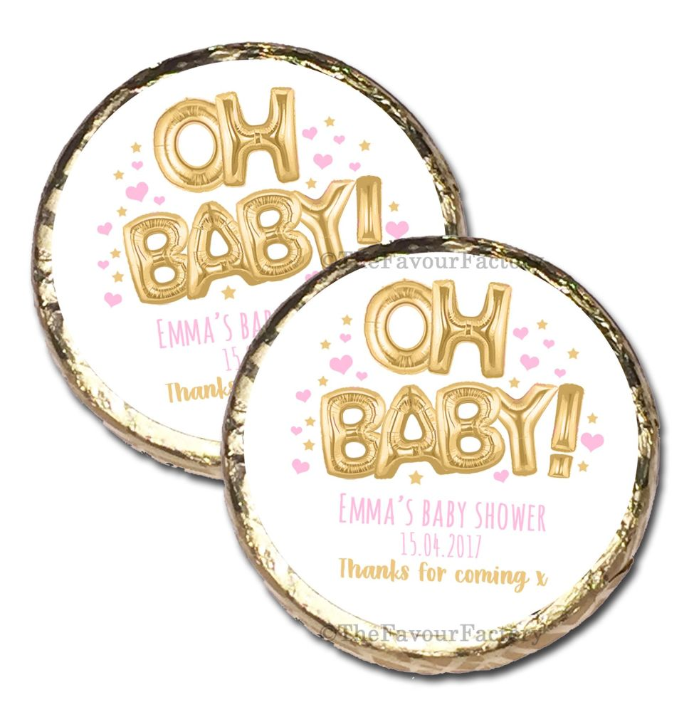 10x 'Oh Baby' Pink & Gold Foil Balloons Personalised Baby Shower Party Mint