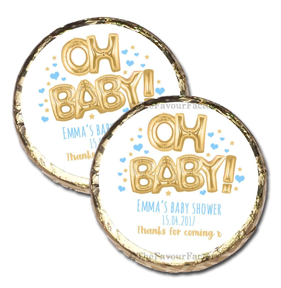 10x 'Oh Baby' Blue & Gold Foil Balloons Personalised Baby Shower Party Mint