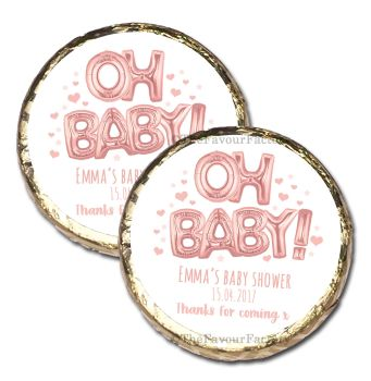10x 'Oh Baby' Rose Gold Foil Balloons Personalised Baby Shower Party Mint Chocolates