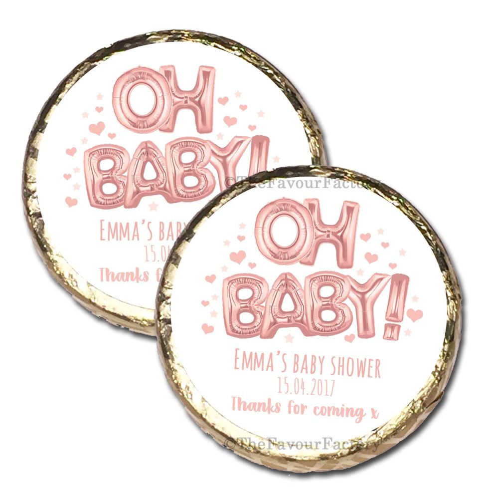 10x 'Oh Baby' Rose Gold Foil Balloons Personalised Baby Shower Party Mint C