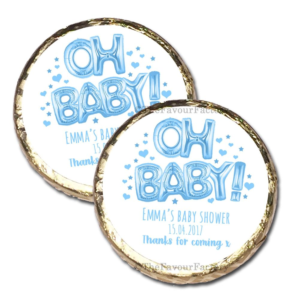 10x 'Oh Baby' Blue Foil Balloons Personalised Baby Shower Party Mint Chocol